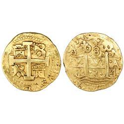 Lima, Peru, cob 8 escudos, 1734N.