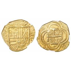 Bogota, Colombia, cob 2 escudos, Philip IV, assayer A below mintmark NR to left (NRA), NGC MS 63, ex