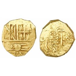Bogota, Colombia, cob 2 escudos, 16(9?), no assayer (Arce), ex-1715 Fleet.