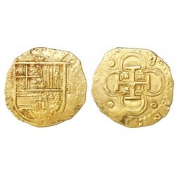 Seville, Spain, cob 2 escudos, Philip II, assayer not visible.