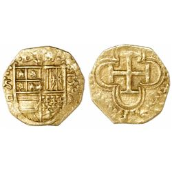 Seville, Spain, cob 1 escudo, 1590 date to right, assayer Gothic D below mintmark S to left.