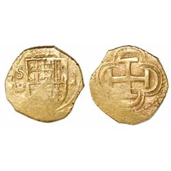 Seville, Spain, cob 1 escudo, Philip II, assayer B below mintmark to left.