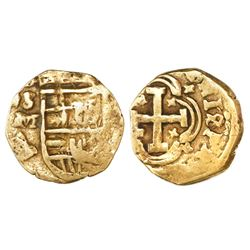 Seville, Spain, cob 1 escudo, Charles II, assayer M, rare.