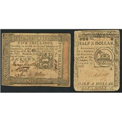 Lot of two colonial notes: Pennsylvania, five shillings, 1-10-1773, serial 11267, and Philadelphia,