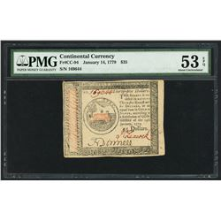 USA, Continental Currency, $35, Jan. 14, 1779, serial 169644, PMG AU 53 EPQ.