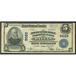 USA (Washington, D.C.), American Exchange National Bank of Dallas, Texas, $5, Vernon-Treat, 12-1-190