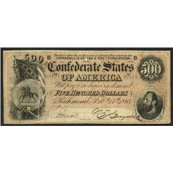 Richmond, CSA, $500, 17-2-1864, plate D-D, serial 29121.