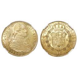 Potosi, Bolivia, bust 4 escudos, Charles IV, 1803PJ, very rare, NGC AU 53, finest