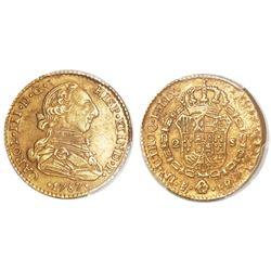 Potosi, Bolivia, bust 2 escudos, Charles III, 1787PR, rare, PCGS XF detail / tooled.
