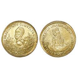 Potosi, Bolivia, 1E-sized gold proclamation medal, 1854MY, president Belzu.