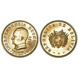 Bolivia, 35 gramos (50 bolivianos), 1952, Villarroel / Economic Independence.