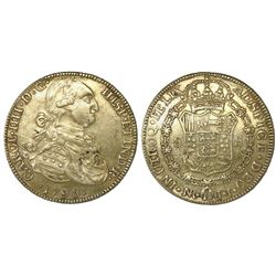 Bogota, Colombia, bust 8 escudos, Charles IV, 1798JJ, contemporary counterfeit made in gilt platinum