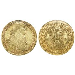 Bogota, Colombia, bust 8 escudos, Ferdinand VII (bust of Charles IV), 1812JF.