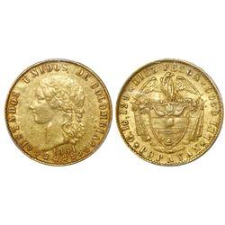 Popayan, Colombia, 10 pesos, 1864, PCGS AU55, ex-Eldorado.