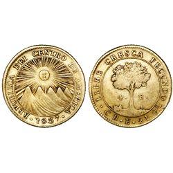 Costa Rica (Central American Republic), 4 escudos, 1837E, rare.