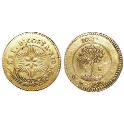 Contemporary (circulating) counterfeit of a Costa Rica 1 escudo 1842MM.