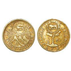 Costa Rica, 1/2 escudo, double lion countermark (Type VI, 1849-57) on a Central American Republic 1/