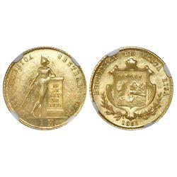 Costa Rica, 1 escudo, 1851JB, rare, NGC MS 62.