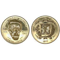 Dominican Republic, proof 200 pesos, 1977, centennial of the death of Juan Pablo Duarte.