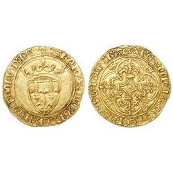 France (Avignon mint), ecu d'or a la couronne, Charles VI (1380-1422), 4th emission.