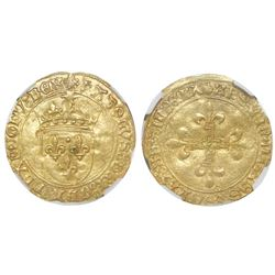 France, ecu d'or, Charles VIII (1483-98), NGC AU 58.