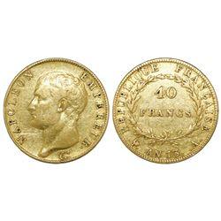 France (Paris mint), 40 francs, Napoleon, An 13 (1805), mintmark A.