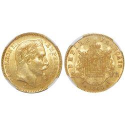 France (Strasbourg mint), 20 francs, 1864-BB, Napoleon III, NGC MS 61.