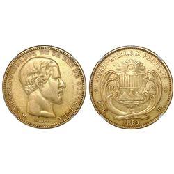 Guatemala, 16 pesos, 1869R, Carrera, NGC XF 45.