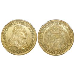 Mexico City, Mexico, bust 8 escudos, Philip V, 1744MF, NGC MS 61, Bevill Plate.