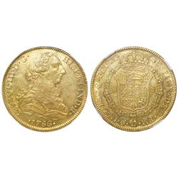Mexico City, Mexico, bust 8 escudos, Charles III, 1786FM, NGC MS 61, tied for finest known in NGC ce
