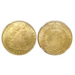 Mexico City, Mexico, bust 8 escudos, Charles IV, 1792FM, NGC AU 58.