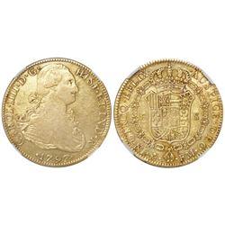 """Mexico City, Mexico, bust 8 escudos, Charles IV, 1797FM, """"EFLIX"""" error (rare), NGC VF details / exce"""