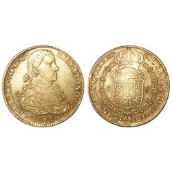 """Mexico City, Mexico, bust 8 escudos, Ferdinand VII transitional (""""armored"""" bust), 1811/0HJ."""