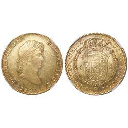 Mexico City, Mexico, bust 8 escudos, Ferdinand VII, 1820JJ, NGC AU 55.