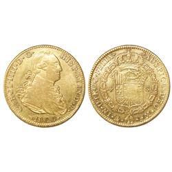 Mexico City, Mexico, bust 4 escudos, Charles IV, 1800FM.