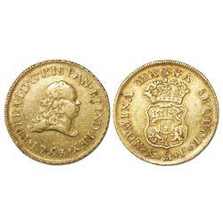 Mexico City, Mexico, bust 2 escudos, Ferdinand VI, 1753MF, rare.