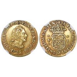 Mexico City, Mexico, bust 1 escudo, Philip V, 1732F, very rare, NGC AU details / holed.