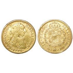 Mexico City, Mexico, bust 1 escudo, Charles III, 1772FM, initials facing rim.