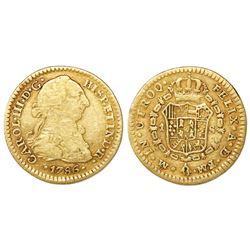 Mexico City, Mexico, bust 1 escudo, Charles III, 1786FM.