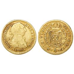 Mexico City, Mexico, bust 1 escudo, Charles III, 1786FM.