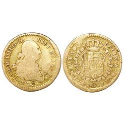 Mexico City, Mexico, bust 1 escudo, Charles IV, 1792FM.