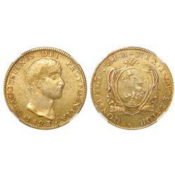 Mexico City, Mexico, 8 escudos, 1823JM, Iturbide, NGC AU 58, Bevill Plate, with specially dedicated