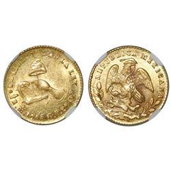 Mexico City, Mexico, 1/2 escudo, 1855GF, NGC MS 62.