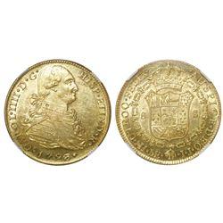 Lima, Peru, bust 8 escudos, Charles IV, 1793IJ, NGC AU 58.