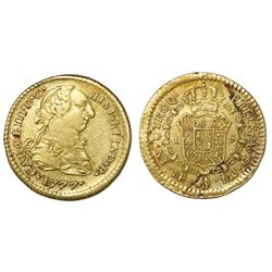 Lima, Peru, bust 1 escudo, Charles III, 1777MJ.