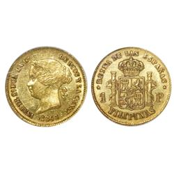 Philippines (under Spain), 1 peso, Isabel II, 1864, NGC AU 55.