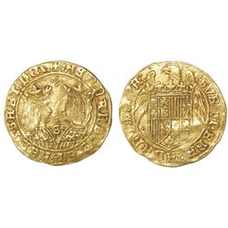 Seville, Spain, 2 excelente, Ferdinand-Isabel, four dots in cross-shape at top and mintmark S with t