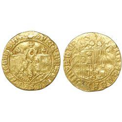 Seville, Spain, 2 excelente, Ferdinand-Isabel, Jerusalem cross at top and mintmark S at bottom betwe