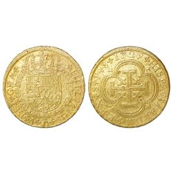 Seville, Spain, milled 8 escudos, Philip V, 1729P.