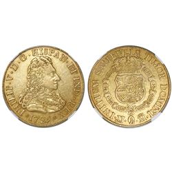 Madrid, Spain, bust 8 escudos, Philip V, 1729JJ, low wig, rare, NGC XF 45.